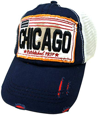 Embroidered Chicago Navy Cap - Fashionable Unisex Cotton Adjustable Distressed Chicago City Baseball Cap - Cap for Dad - Perfect Souvenir Gift for Men, Women & Kids