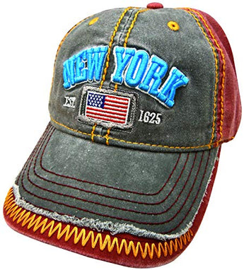 Embroidered New York USA Flag Maroon Black Cap - Fashionable Unisex Cotton Adjustable Distressed New York City Baseball Cap - Cap for Dad - Perfect Souvenir Gift for Men, Women & Kids