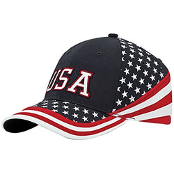 MG Washed Cotton Twill Stars & Stripes USA Ball Cap Hat  USA Flag Cap