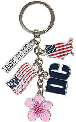 Washington D.C. and American Flag Patriotic 5 Charm Keychain