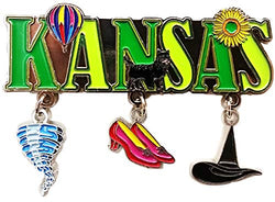 Kansas 3 Charm Dangle Metal Magnet