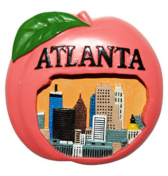 Atlanta Skyline within the famous Georgia Peach Souvenir Magnet