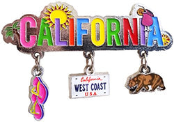 CityDreamShop California 3 Charm Souvenir Magnet Featuring the California Bear,California West Coast License Plate and Beach Sandles