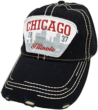Embroidered Chicago Illinois Black Cap - Fashionable Unisex Cotton Adjustable Distressed Chicago City Baseball Cap - Cap for Dad - Perfect Souvenir Gift for Men, Women & Kids