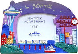 CityDreamShop Seattle at Night Hand Painted Designer 4x6 Picture Frame of The Iconic Seattle Skyline