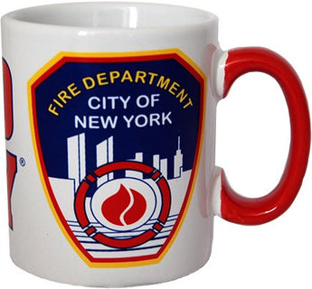 CityDreamShop FDNY Shield White Coffee Mug Officially Licensed by New York Fire Department