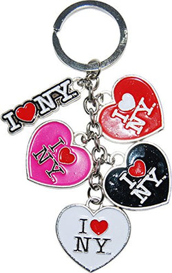 I love New York 5 Heart Key Chain Black, White, Red, Pink Hearts and 1 I love New York Logo