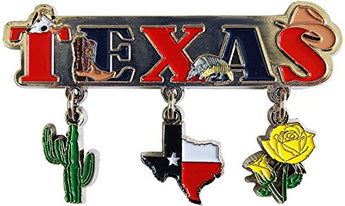Texas 3 Charm Souvenir Magnet Featuring the State of Texas,Cactus and a Beautiful Yellow Flower