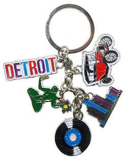 Detroit Michigan 5 Charm Souvenir Keychain Featuring Detroit Skyline, Motown Music and The Classic car