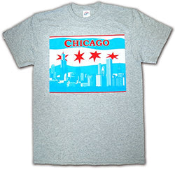 CityDreamShop Chicago Flag Featuring The Chicago Skyline Designed Short Sleeve Shirt (XL Grey