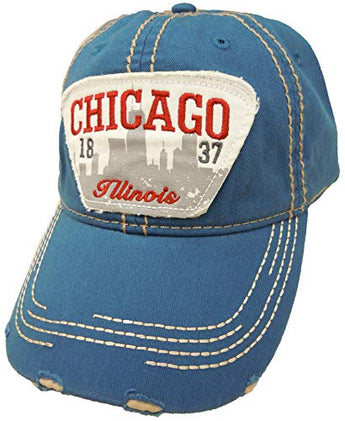 Embroidered Chicago Illinois Distressed Blue Skyline Cap - Fashionable Unisex Cotton Adjustable Chicago City Baseball Cap - Cap for Dad - Perfect Souvenir Gift for Men, Women & Kids