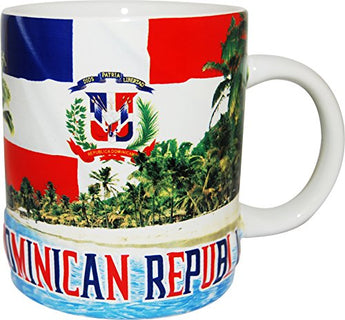 Dominican Republic Beach Design Souvenir Coffee Mug- Featuring the Dominican Flag
