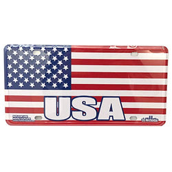 USA License Plate featuring American Flag with Embossed USA Design | Perfect Gift for USA or Military Veteran | Great Souvenir Collection For Patriotic People