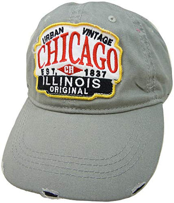 Embroidered Chicago Illinois Urban Vintage Grey Cap - Fashionable Unisex Cotton Chicago Baseball Cap - Cap for Dad - Perfect Souvenir Gift for Men, Women & Kids