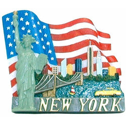 USA NYC/American Flag Magnet