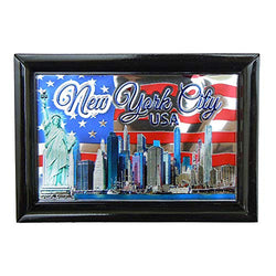 New York City Skyline Waving Flag of The USA Photo Framed Foil Refrigerator Magnet