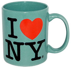 I Love New York Colorful Mugs- 11 oz Double Sided I Love NY Mugs in Colors Yellow, Pink, Orange, Blue, Purple, Black and White Souvenirs (Blue)