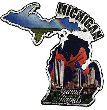Michigan the Great Lakes State Refrigerator Souvenir Gift Magnet and GrandRapids Fridge Magnet