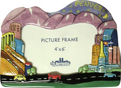 CityDreamShop Denver Colorado Hand Painted Designer 4x6 Picture Frame of the Iconic Denver Skyline