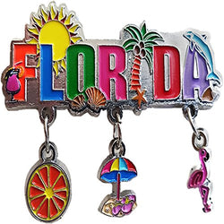 Florida 3 Charm Souvenir Magnet Featuring the Sunshine State Beach Umbrella's, Florida Oranges and a Flamingo