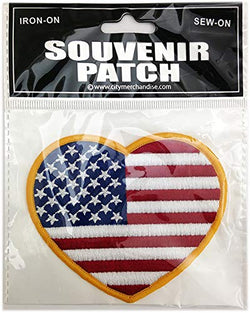 American Flag USA Patch Comes in Single, 6 Pack, 12 Pack, 24 Pack and 50 Packs so You get The Best Deal (USA Love Sign)