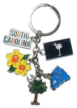 South Carolina Attractions 5 Charm Souvenir Keychain