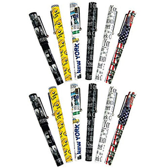 Set of 12 Unique Ballpoint Pens with Caps New York City Collectible Souvenir Gift