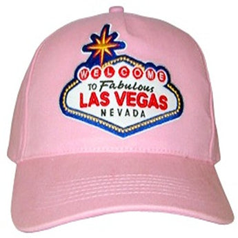 Las Vegas Selection of Adjustable Baseball Hats and Caps Featuring Las Vegas Welcome Sign (Pink)