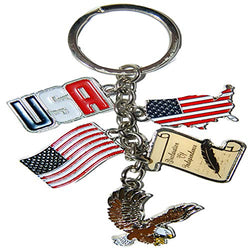 Patriotic 5 Charm Keychain- Featuring Classic USA Icons Including Bald Eagle, Deceleration of Independence our Flag and more