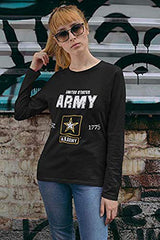 U.S. Army Official Army Logo Comfortable Long Sleeve Shirt #ArmyPride, Black, Small