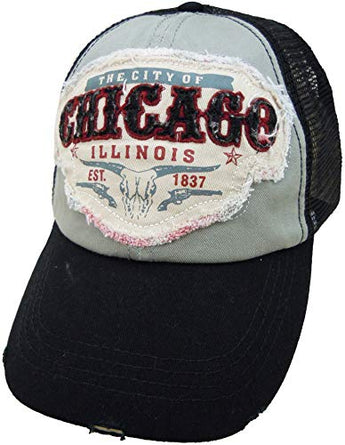 Embroidered Chicago Illinois Distressed Black Cap - Fashionable Unisex Cotton Adjustable Chicago City Baseball Cap - Cap for Dad - Perfect Souvenir Gift for Men, Women & Kids