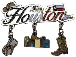 Houston Skyline Novelty Magnet for Refrigerator Fridge | 3 Charm Magnet Featuring Cowboy Boot & Horse Rider | Perfect Souvenir Gift Collection for Men, Women & Kids