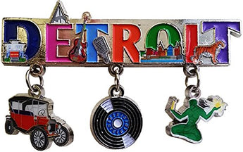 Detroit Michigan 3 Charm Souvenir Magnet featuring Motown Music, Famous Landmark and the classic car