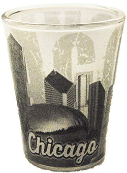 Chicago Black and White Unique Faded Skyline Shot Glass