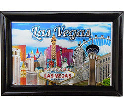 Las Vegas City Black Picture Frame with Welcome Sign & Eiffel Tower Design | Rectangular Skyline Photo Frame for Men & Women | Perfect Souvenir Gift Collection