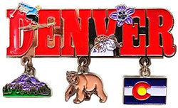 Denver 3 Charm Metal Magnet Featuring Charms of Denver Colorado