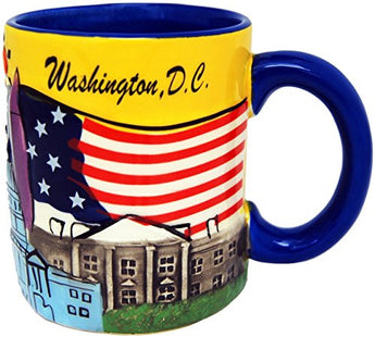 Washington D.C. Patriotic Hand Painted 11 Ounce Coffee Mug- Featuring D.C. Skyline