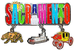 Sacramento 3 Detailed Charms Metal Dangle Magnet