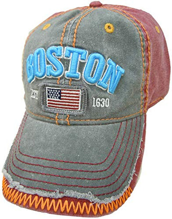 Embroidered Boston USA Flag Maroon Grey Cap | Fashionable Unisex Cotton Adjustable Distressed Boston City Baseball Cap | Cap for Dad | Perfect Souvenir Gift for Men, Women & Kids