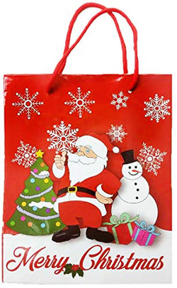 Citydreamshop Christmas Gift Bag: Deluxe Christmas Holiday Drawstring Gift Bag| Colorful Santa/Snowman Toy, Clothing & Book Gift Bag| Large Ecofriendly, Reusable Kraft Paper Gift Bag for Kids & Adults