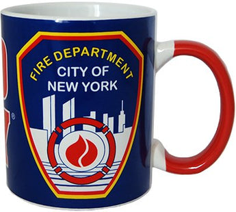 CityDreamShop FDNY Blue Shield Coffee Mug Officially Licensed by New York Fire Department