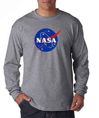 econoShirts NASA Meatball Logo Long Sleeve Shirt Space Shuttle Rocket Science Geek Tee (Large, Gray)