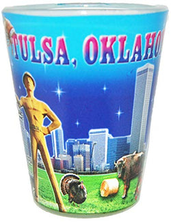 State of Oklahoma Scenic Photo Printed Shot Glass- Featuring Tulsa