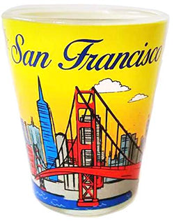 San Francisco Yellow Fun in the Sun Designed Souvenir Shot Glass