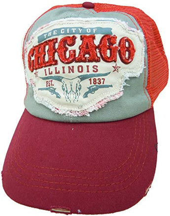 Embroidered Chicago Illinois Distressed Orange Maroon Cap - Fashionable Unisex Cotton Adjustable Chicago City Baseball Cap - Cap for Dad - Perfect Souvenir Gift for Men, Women & Kids
