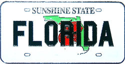 Florida the Sunshine State License Plate Replica Metal Magnet