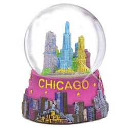 Chicago Snow Globe 65mm 3.5 Inch Purple Chicago Snow Globes from Chicago Souvenirs Collection