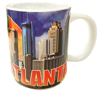 Atlanta Georgia 11 ounce Skyline Souvenir Coffee Mug Featuring the Georgia Peach