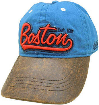 Embroidered Boston Distressed Blue Cap | Fashionable Unisex Cotton Adjustable Boston City Baseball Cap | Cap for Dad | Perfect Souvenir Gift for Men, Women & Kids
