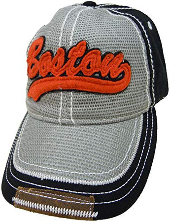 Embroidered Boston Stylish Black Grey Cap | Fashionable Unisex Cotton Boston Baseball Cap | Cap for Dad | Perfect Souvenir Gift for Men, Women & Kids